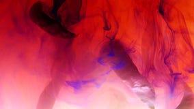 De droge stelen van installaties wikkelen wolken van rood verf opgelost water, de herfststemming stock footage
