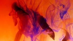 De droge stelen van installaties wikkelen wolken van rood verf opgelost water, de herfststemming stock videobeelden