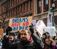 De dromen hebben Geen Grenzen - Student Troy Protest -, New York royalty-vrije stock foto