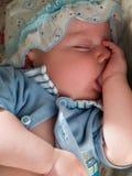 De dromende baby zuigt vinger   Stock Afbeelding