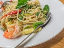 De dronken garnalen van de spaghettisaus, garnalennadruk royalty-vrije stock foto's