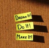 De droom het, doet het, maakt het! Stock Foto's