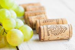 De druif en de wijn kurken Royalty-vrije Stock Foto's