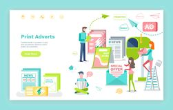 De druk adverteert Webpagina of Plaatsmalplaatje, Marketing vector illustratie