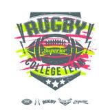 De druk en het ontwerpelementen van het meisje van het rugbyembleem Stock Foto's