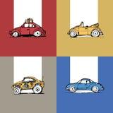 De druk van 4 auto's van blauwe rode gele kaki Royalty-vrije Stock Foto's