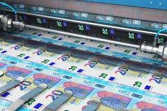 De druk van 20 Euro geldbankbiljetten royalty-vrije illustratie