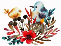 De druk van de gebiedsbloem met vogel royalty-vrije illustratie