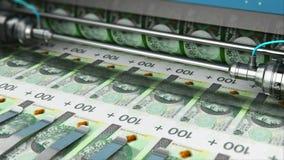 De druk van 100 Poolse zloty het geldbankbiljetten van PLN stock footage