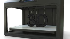 De druk van zwarte volumetrische teksten met moderne 3D printer, het 3D teruggeven Royalty-vrije Stock Foto