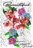 De Druk Vectorontwerp van de bloemluipaard Stock Afbeelding