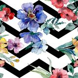 De drukken van de luxemanier met wildflowers Waterverf achtergrondillustratiereeks Naadloos patroon als achtergrond vector illustratie
