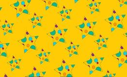 De drukpatroon van de kinderenzomer met heldere gekleurde sterren op een gele achtergrond vector illustratie