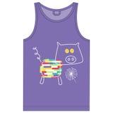 De drukt-shirts voor de week van kinderen heeft een reeks van 7 dieren Stock Afbeelding