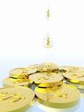 De druppel van het geld. stock afbeelding