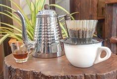 De druppelreeks van de koffiehand Royalty-vrije Stock Afbeeldingen