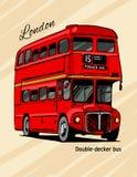 De dubbeldekker hand-drawn rode bus van Londen Royalty-vrije Stock Afbeelding