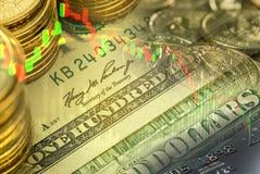 De dubbele blootstelling van dollarsbankbiljet met muntstukken en voorraadgrafiek Royalty-vrije Stock Afbeeldingen