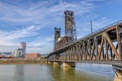 De dubbele brug Portland, Oregon van het dekstaal royalty-vrije stock afbeeldingen