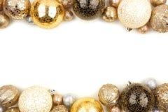 De dubbele grens van de nieuwjarenvooravond van gouden, zwart-witte ornamenten over wit royalty-vrije stock afbeelding