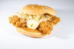 De dubbele Hamburger van de brandkip Royalty-vrije Stock Afbeelding