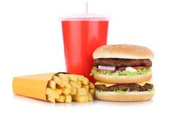 De dubbele hamburgerhamburger en van het gebraden gerechtenmenu geïsoleerde drank van maaltijdcombo Royalty-vrije Stock Afbeeldingen