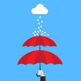 De dubbele hand die van het beschermingsconcept dubbele laag van paraplu houden Stock Foto