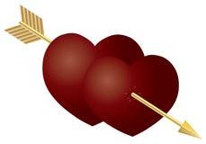 De Dubbele Harten van de Dag van valentijnskaarten met Pijl Stock Foto's