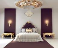 De dubbele slaapkamer van de luxe met gouden meubilair Royalty-vrije Stock Afbeelding