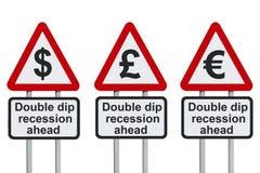 De dubbele verkeersteken van de onderdompelingsrecessie Stock Fotografie