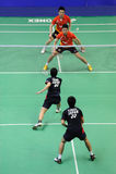 de dubbelen van mensen, Azië van het Badminton kampioenschappen 2011 Stock Fotografie