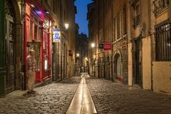 De Duboeuf-straat in de oude stad van Lyon Royalty-vrije Stock Foto's