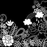 De Duif van de Henna van de krabbel en de Vector van Bloemen Royalty-vrije Stock Afbeeldingen