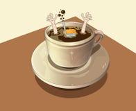 De duiken van de duiker in de koffie Royalty-vrije Stock Afbeeldingen