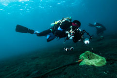 De duiker neemt een fotovideo op het vrij duiken van koraal lembeh Indonesië Stock Foto's