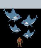 De duiker wordt omringd door haaien Onderwaterkloof en kwade haaien stock illustratie