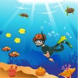 De duiker zwemt in de oceaan