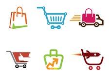 De Duim Logo Design Illustration van de karwinkel Stock Afbeeldingen