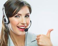 De duim van de klantenondersteuningsexploitant toont call centre die oper glimlachen Royalty-vrije Stock Foto