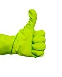 De duimen ondertekenen omhoog in groene vinylhandschoen Royalty-vrije Stock Afbeeldingen