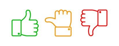 De duimen plaatsen omhoog Groen als rode afkeer en gele onbesliste lijnpictogrammen Duim boven en beneden vectoroverzicht geïsole vector illustratie