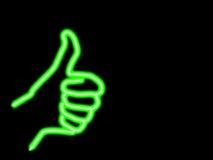 De duimen van het neon omhoog en copyspace Royalty-vrije Stock Afbeeldingen