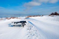 De duinen van de sneeuw bij een meer in de Winter royalty-vrije stock fotografie