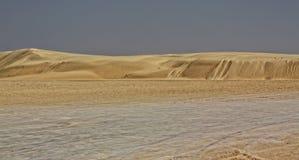 De duinen van het de woestijnzand van de Sahara Stock Foto's