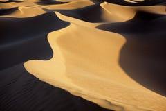 De duinen van het de woestijnzand van de Sahara. Stock Fotografie