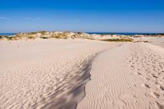 De duinen van het zand bij het overzees Royalty-vrije Stock Foto's