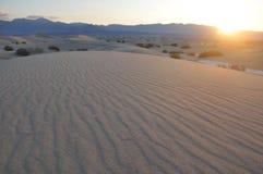 De Duinen van het zand bij Zonsopgang Stock Afbeelding