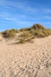 De duinen van het zand en een blauw. Stock Fotografie