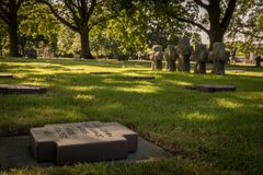 De Duitse Begraafplaats bij La Cambe, Normandië, Frankrijk stock foto's