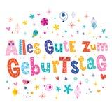 De Duitse Gelukkige verjaardag van Allesgute zum Geburtstag Deutsch Stock Foto